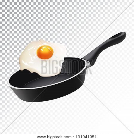 Vector realistic illustration of a frying pan with scrambled eggs. Colorful objects on a transparent background.