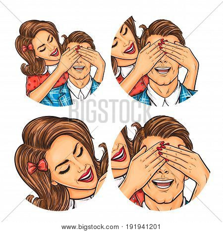 Vector illustration, womens and mens pop art round avatar icon for users of social networking, blogs. The woman closed eyes to the man with her palms