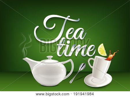 Tea time paper hand lettering calligraphy. Vector illustration with tea objects and text.