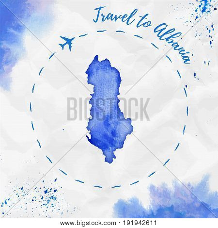 Albania Watercolor Map In Blue Colors. Travel To Albania Poster With Airplane Trace And Handpainted