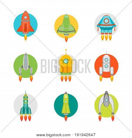 Cartoon Space Ship or Rocket Color Icons Set Flat Style Design Element Startup Business Concept. Vector illustration