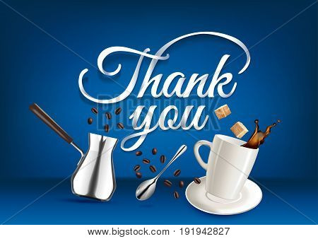 Thank You paper hand lettering calligraphy. Vector illustration with coffee objects and text.
