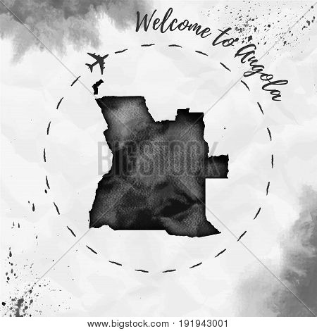 Angola Watercolor Map In Black Colors. Welcome To Angola Poster With Airplane Trace And Handpainted