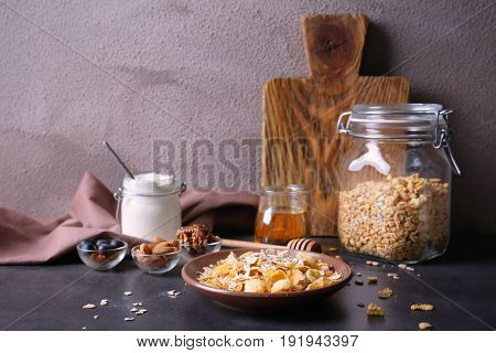 Beautiful composition with muesli on table