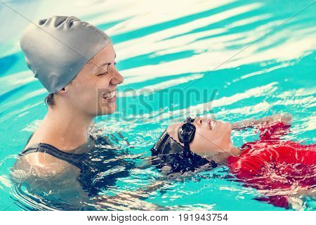 Swimming class for children toned image, horizontal