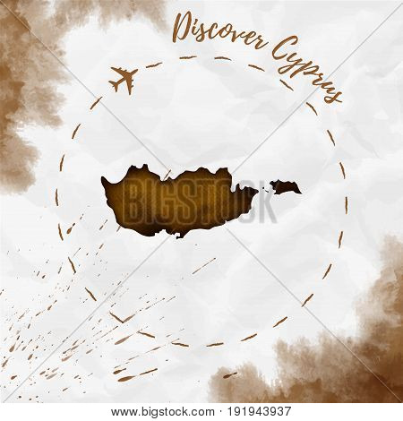 Cyprus Watercolor Map In Sepia Colors. Discover Cyprus Poster With Airplane Trace And Handpainted Wa