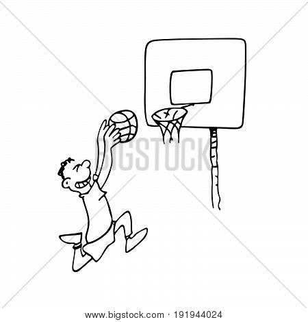 boy playing basketball. outlined cartoon drawing sketch illustration vector.