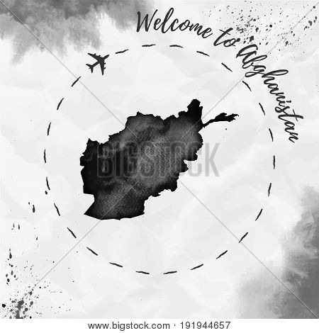 Afghanistan Watercolor Map In Black Colors. Welcome To Afghanistan Poster With Airplane Trace And Ha