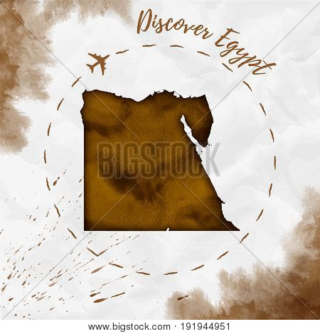Egypt Watercolor Map In Sepia Colors. Discover Egypt Poster With Airplane Trace And Handpainted Wate
