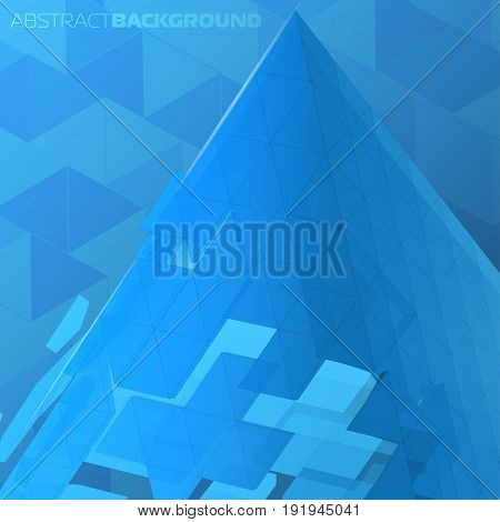 Vector abstract background 3d pyramid collected from triangular polygons for creative high-tech design