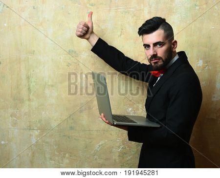 Yes Or Thumbs Up Sign Shown By Young Bearded Director