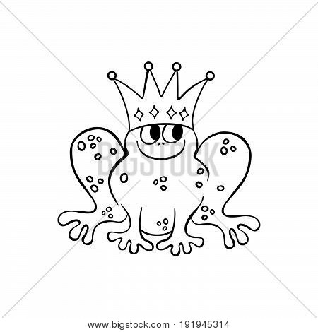 frog wearing a Crown. outlined cartoon handrawn sketch illustration vector.