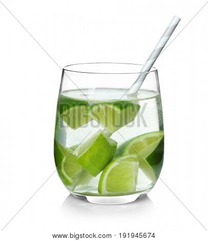 Tasty refreshing lemonade with lime in glass on white background