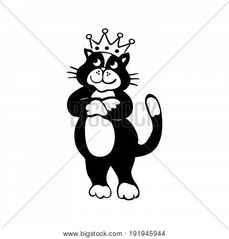 cat with Crown cartoon. outlined cartoon handrawn sketch illustration vector.