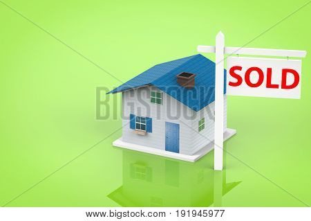 3d rendering sold house sign with mock up house