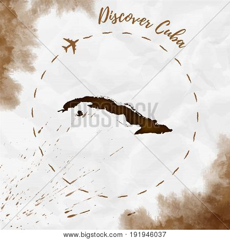 Cuba Watercolor Map In Sepia Colors. Discover Cuba Poster With Airplane Trace And Handpainted Waterc