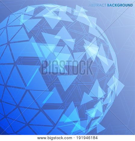 Vector abstract background going from triangles sphere to creative high-tech design