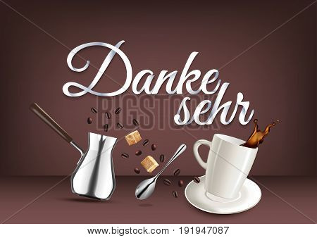 Thank you in german language paper hand lettering calligraphy. Vector illustration with coffee objects and text.