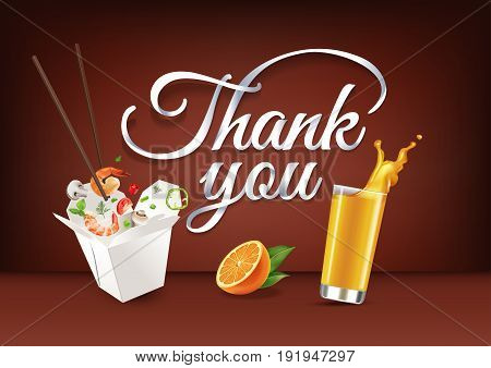 Thank You paper hand lettering calligraphy. Vector illustration with food drink objects and text.