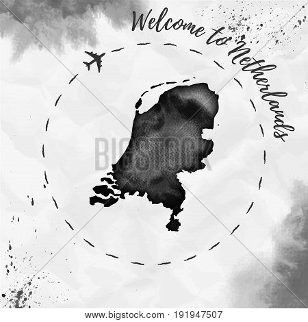 Netherlands Watercolor Map In Black Colors. Welcome To Netherlands Poster With Airplane Trace And Ha
