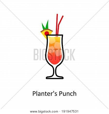 Planter's Punch cocktail icon in flat style. Vector illustration