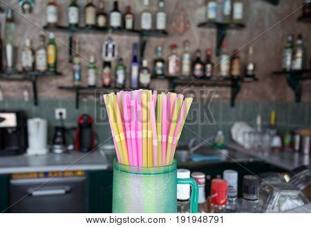 Straws On Bar Counter