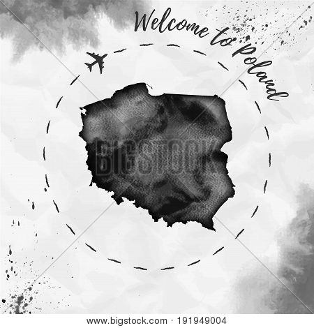 Poland Watercolor Map In Black Colors. Welcome To Poland Poster With Airplane Trace And Handpainted