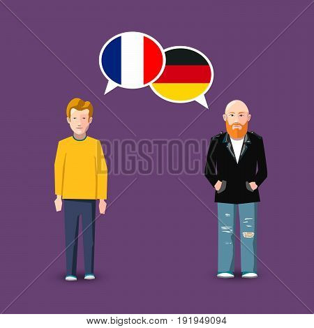 Two people with white speech bubbles with France and Germany flags. Language study conceptual illustration