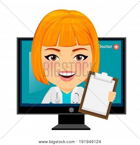 Medical doctor woman appears from monitor. Funny cartoon character with big head. Vector illustration. EPS10