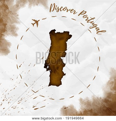 Portugal Watercolor Map In Sepia Colors. Discover Portugal Poster With Airplane Trace And Handpainte