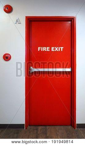 Fire Exit Emergency Door Red Color Metal Material.