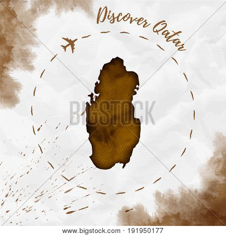 Qatar Watercolor Map In Sepia Colors. Discover Qatar Poster With Airplane Trace And Handpainted Wate
