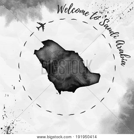 Saudi Arabia Watercolor Map In Black Colors. Welcome To Saudi Arabia Poster With Airplane Trace And