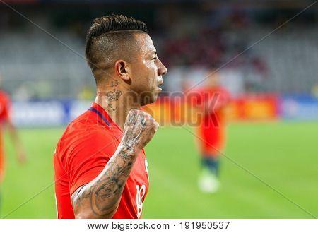 CLUJ-NAPOCA, ROMANIA - 13 JUNE 2017: Chile's Leonardo Valencia in action during the Romania vs Chile friendly, Cluj-Napoca, Romania - 13 June 2017