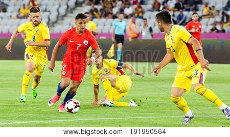 CLUJ-NAPOCA, ROMANIA - 13 JUNE 2017: Chile's Alexis Sanchez (L) of Romania during the Romania vs Chile friendly, Cluj-Napoca, Romania - 13 June 2017
