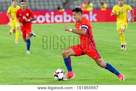 CLUJ-NAPOCA, ROMANIA - 13 JUNE 2017: Chile's Alexis Sanchez in action during the Romania vs Chile friendly, Cluj-Napoca, Romania - 13 June 2017
