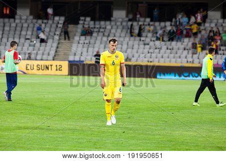 CLUJ-NAPOCA, ROMANIA - 13 JUNE 2017: Romania's Vlad Chiriches during the Romania vs Chile friendly, Cluj-Napoca, Romania - 13 June 2017