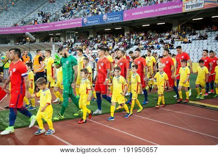 CLUJ-NAPOCA, ROMANIA - 13 JUNE 2017: Chile's national football team enters the stadium ahead of the Romania vs Chile friendly, Cluj-Napoca, Romania - 13 June 2017