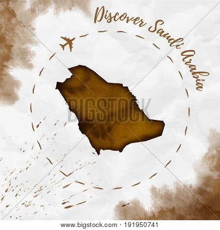 Saudi Arabia Watercolor Map In Sepia Colors. Discover Saudi Arabia Poster With Airplane Trace And Ha