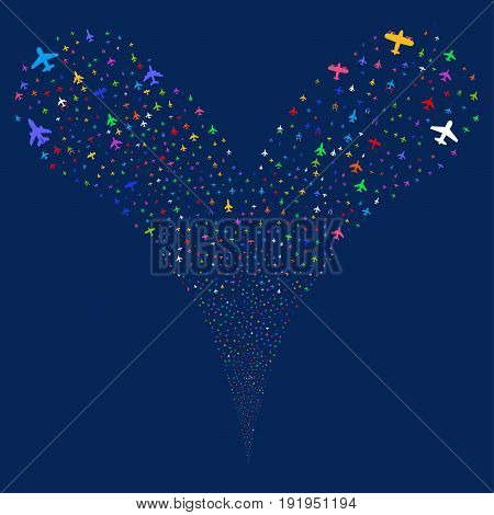 Airplanes explosive stream. Vector illustration style is flat bright multicolored iconic airplanes symbols on a blue background. Object fountain created from random pictographs.