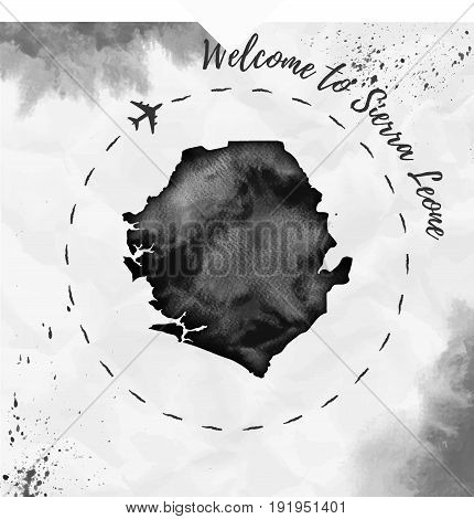 Sierra Leone Watercolor Map In Black Colors. Welcome To Sierra Leone Poster With Airplane Trace And