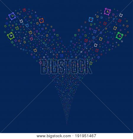 Alarm Clock salute stream. Vector illustration style is flat bright multicolored iconic alarm clock symbols on a blue background. Object fountain made from random pictograms.