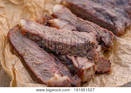 grilled barbecue beef sirloin steaks with spice
