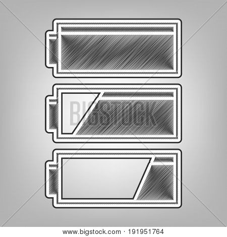Set of battery charge level indicators. Vector. Pencil sketch imitation. Dark gray scribble icon with dark gray outer contour at gray background.