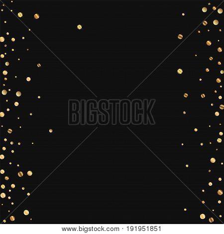 Sparse Gold Confetti. Messy Border On Black Background. Vector Illustration.