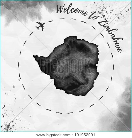 Zimbabwe Watercolor Map In Black Colors. Welcome To Zimbabwe Poster With Airplane Trace And Handpain