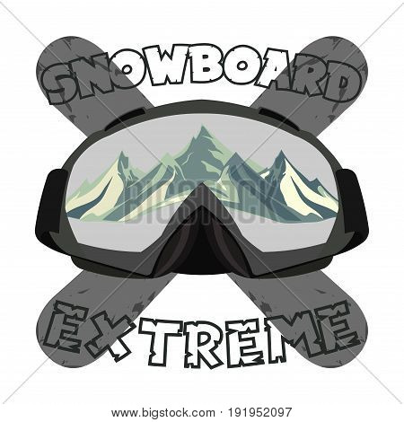 Snowboarding goggles extreme logo and template. Winter sports snowboard shop icon. Mountain Adventure signs design