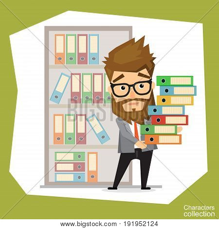 Office worker carries a large stack of folders with documents