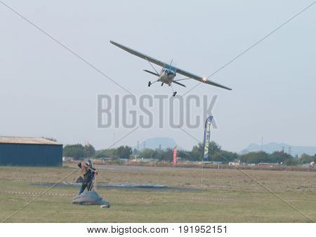 Pilot Making Last Flyby After Final Drop Of Day With X328 Atlas Angel Turbine Specially Equipped Air