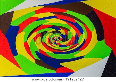 Hypnotizing abstract colourful swirl background. Acrylic art. Twisting, rotating lines in multicolor fashion. Beautiful abstract graffiti spots, grunge texture. For bright design for all occasions
